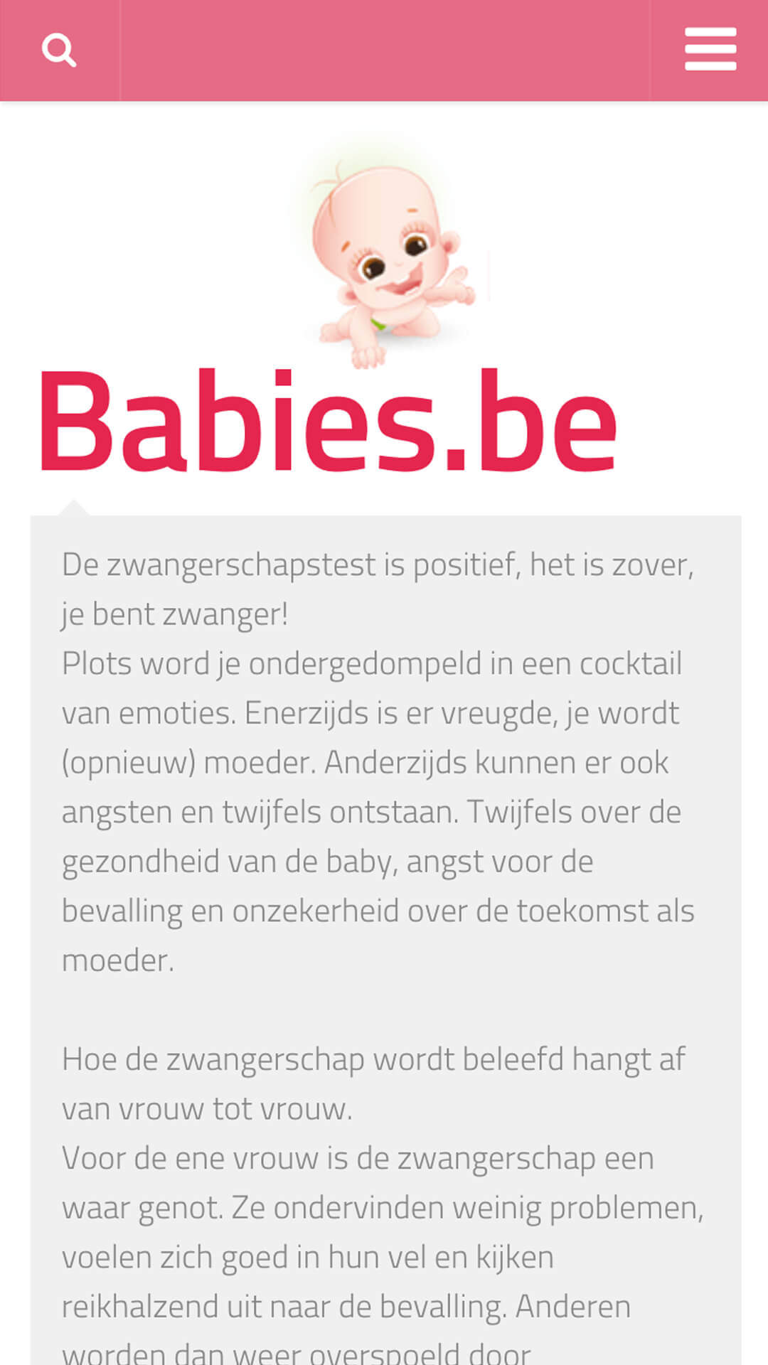 babies.be mobile preview