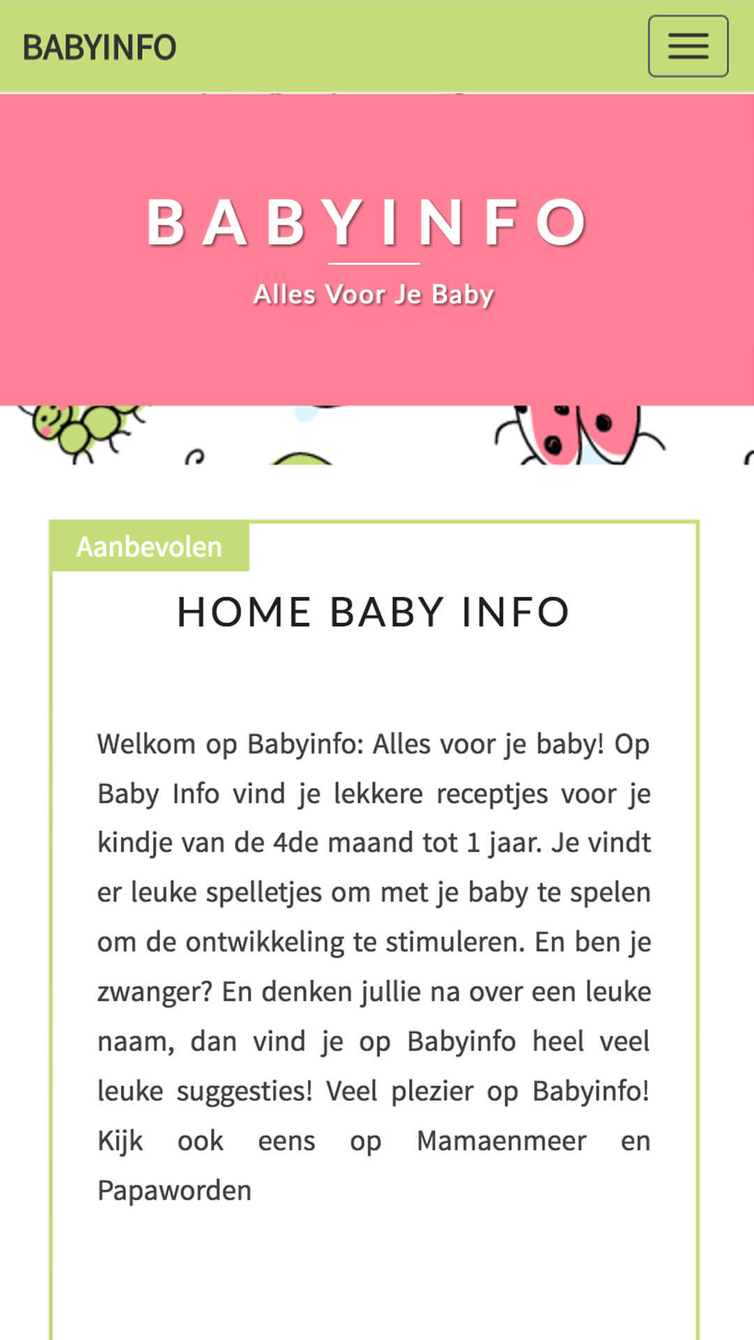 babyinfo.be mobile preview