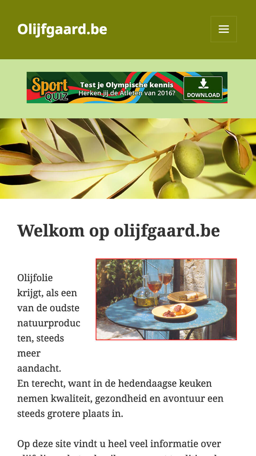 olijfgaard.be mobile preview