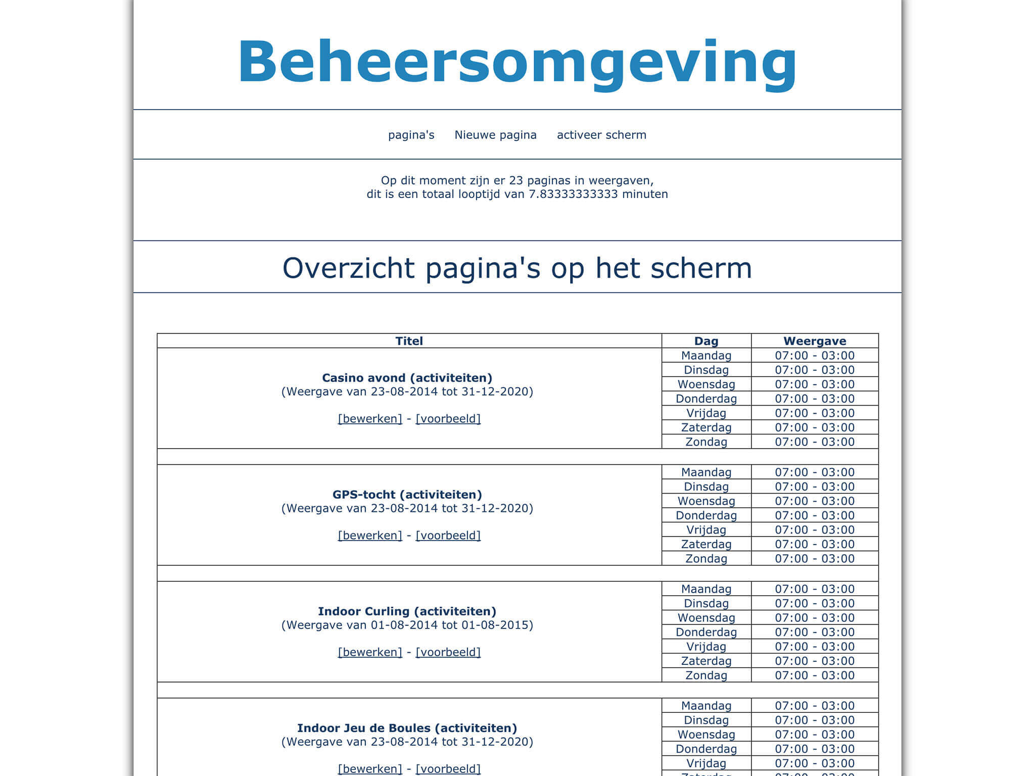 denheuvel informatiescherm preview beheer