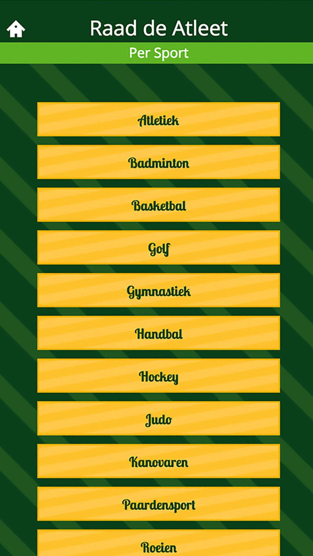 Sport Quiz app preview sporten overzicht