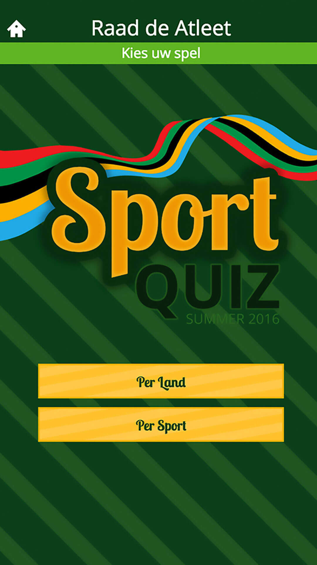 Sport Quiz app preview startpagina
