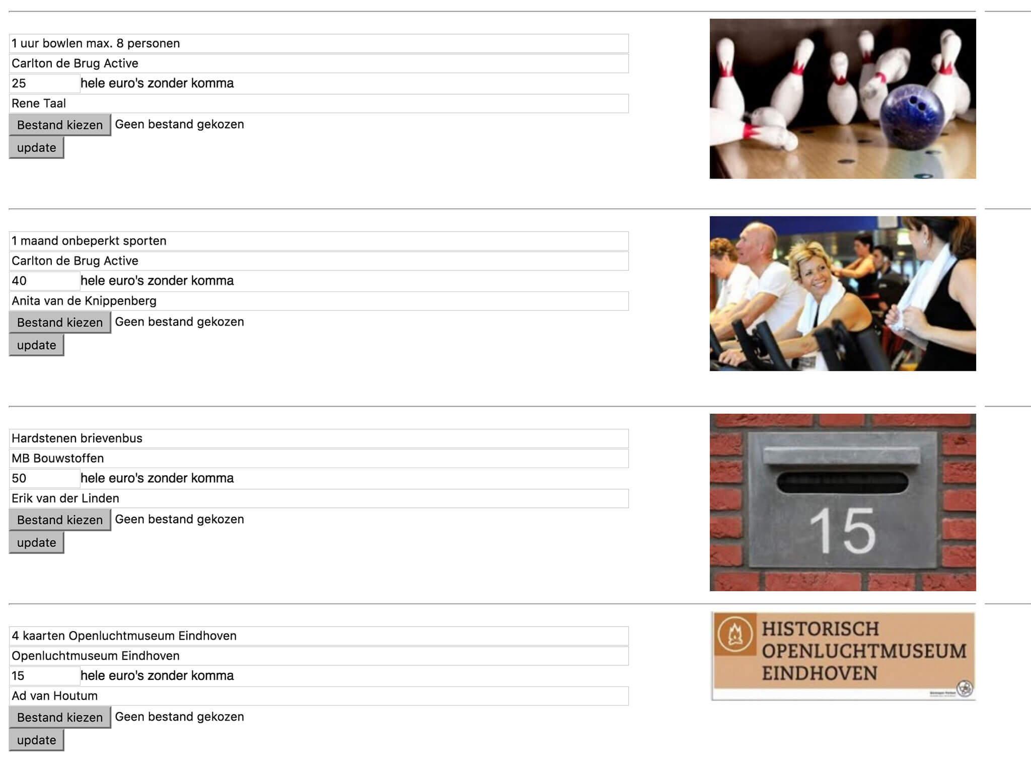 Veiling de Kersepit informatiescherm preview beheer