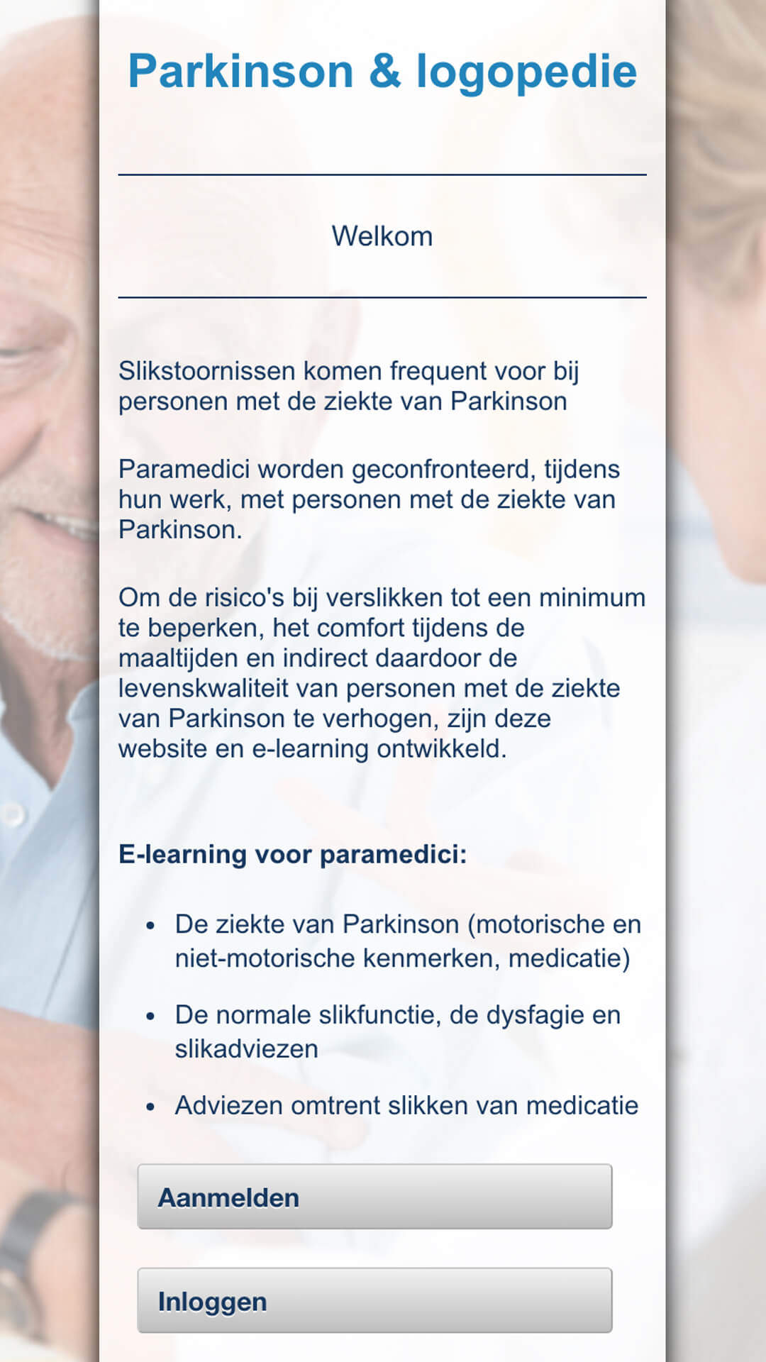 parkinson-logopedie.be mobile preview