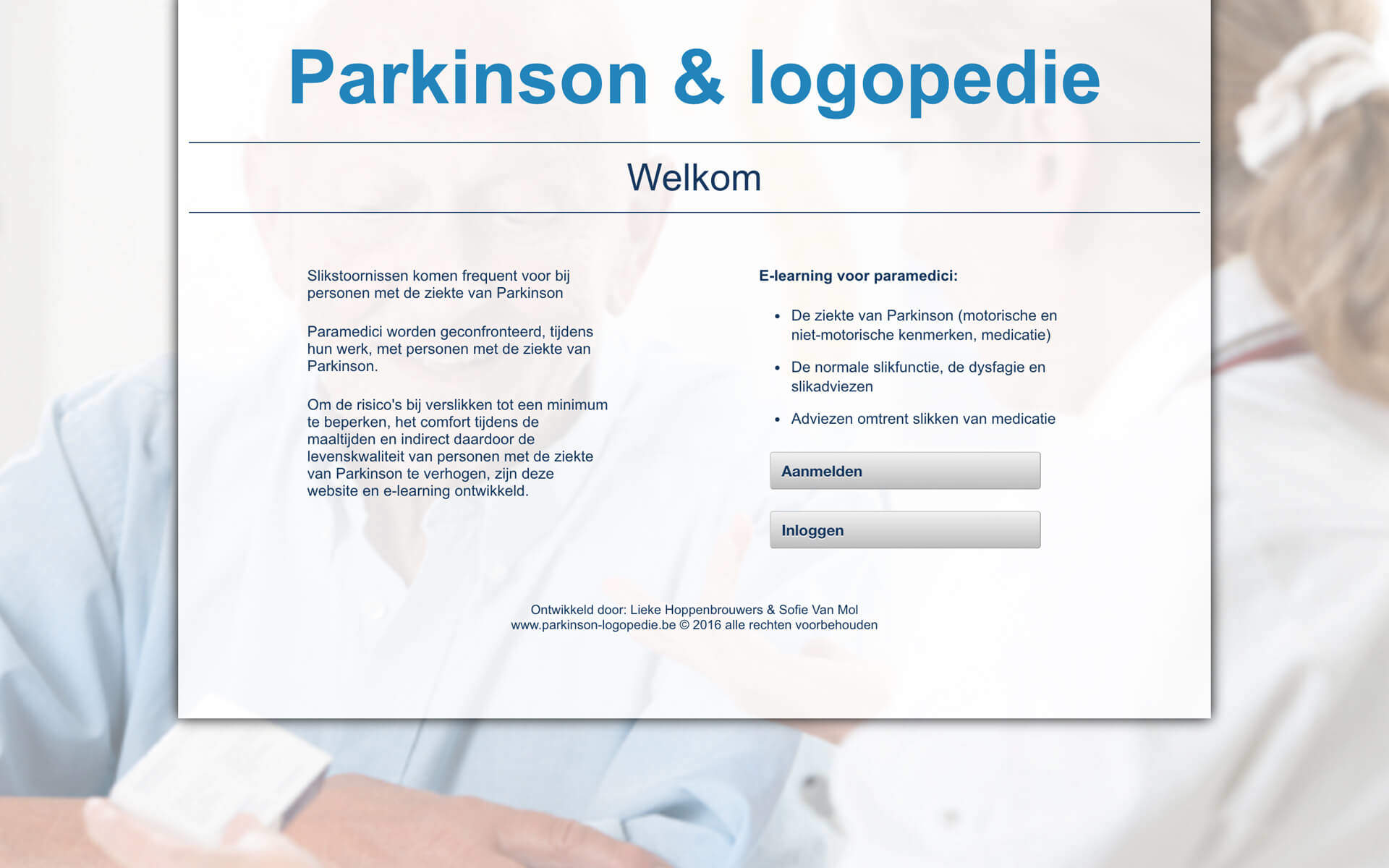 parkinson-logopedie.be desktop preview