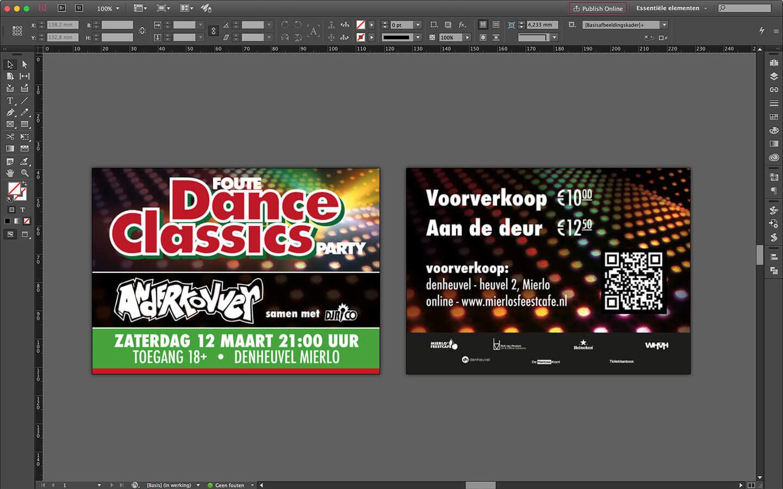 Flyers ontwerp 'Foute Dance Classics Party' - denheuvel Mierlo