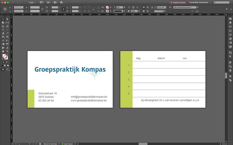 Ontwerp afspraakkaartje - Groepspraktijk Kompas - Schilde