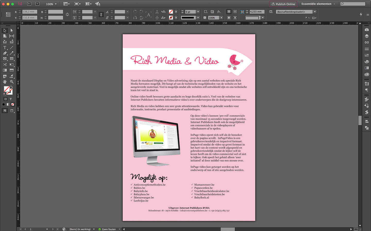 Ontwerp Brochure Internetpublishers pagina: RichMedia & Video