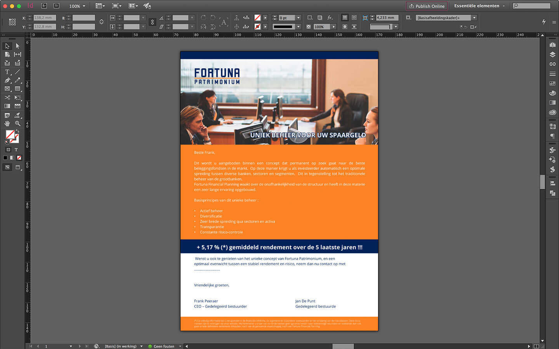 Drukwerk ontwerp promotie brief voor Fortuna Patrimonium