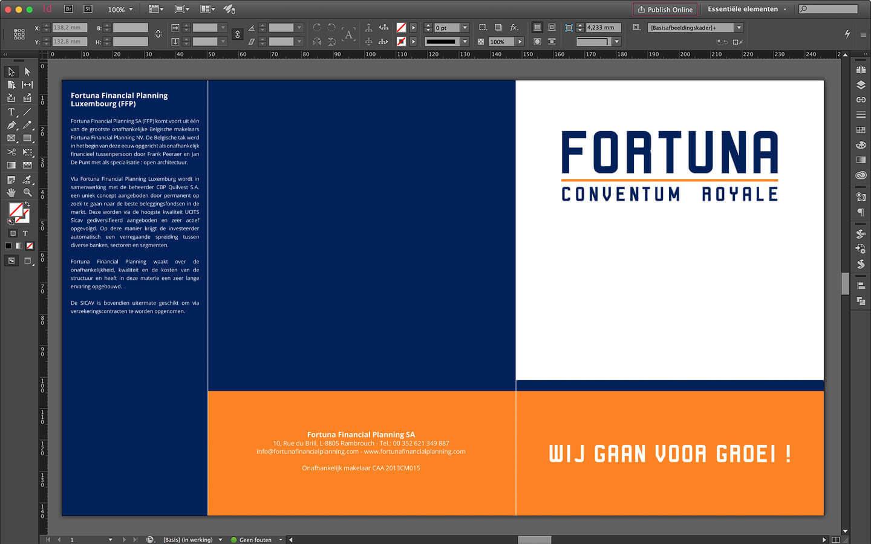 Ontwerp insteek map voor brochures en documenten in stijl van Fortuna Financial Group
