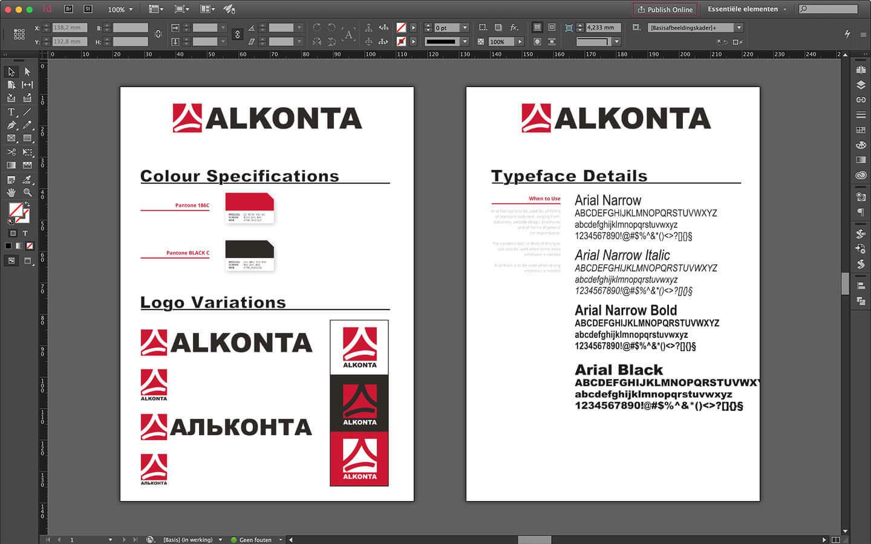 Huisstijl ontwerp en richtlijnen voor Alkonta