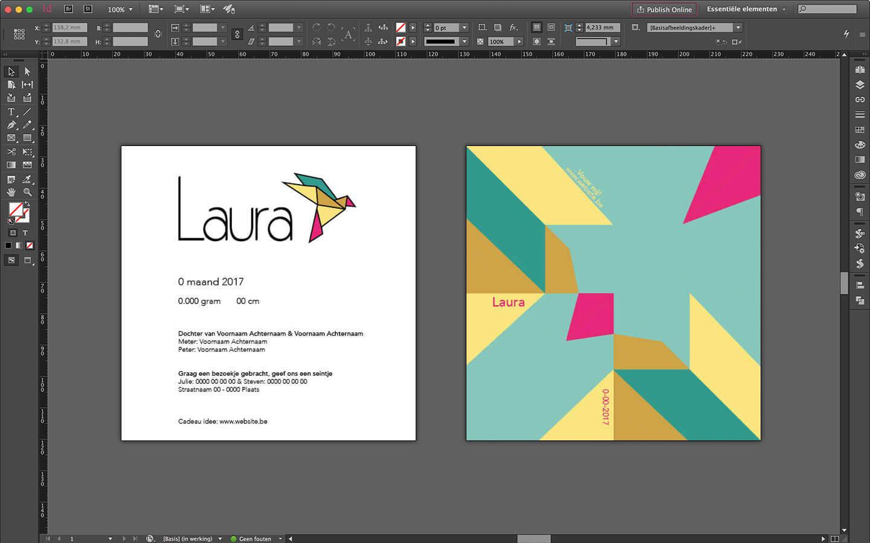 Ontwerp geboortekaartje voor Laura voorzijde voorzien van logo en tekst, grafische achterzijde voor het vouwen van een vogel