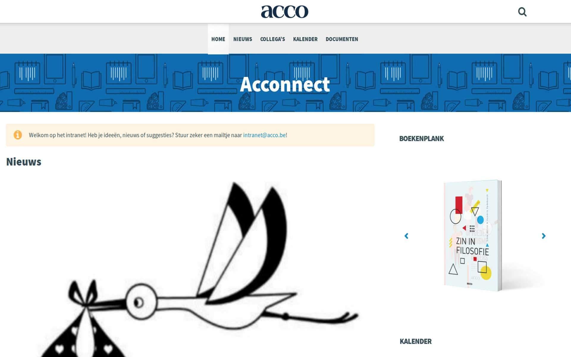 Voorbeeld van het website design voor de desktop weergave van Acco Intranet