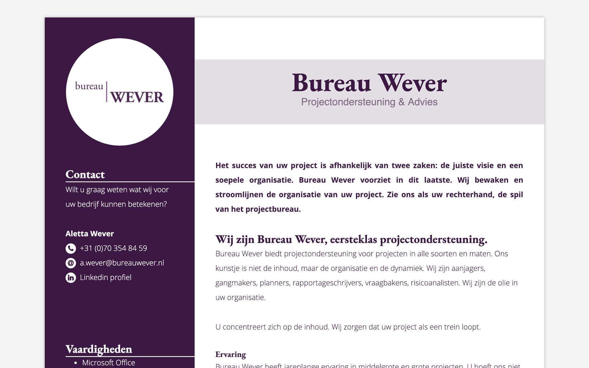 bureauwever.nl desktop preview