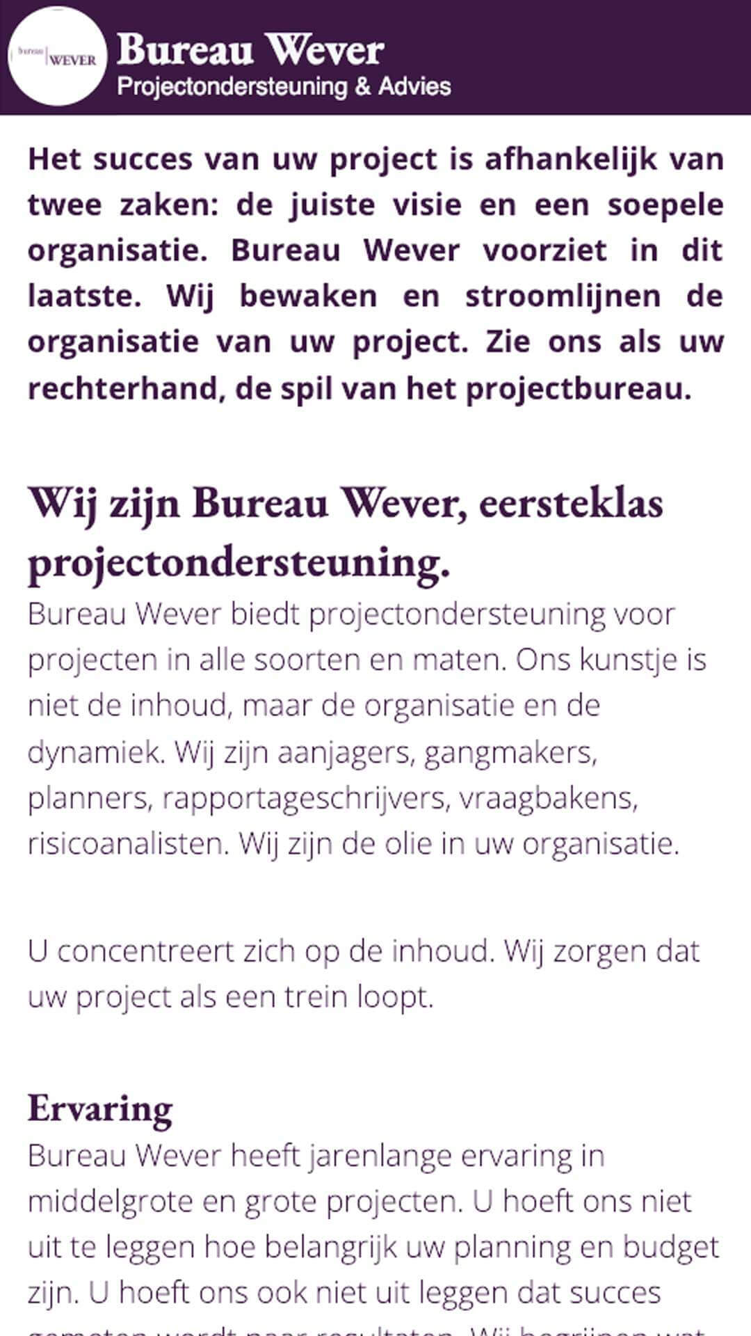 bureauwever.nl mobile preview