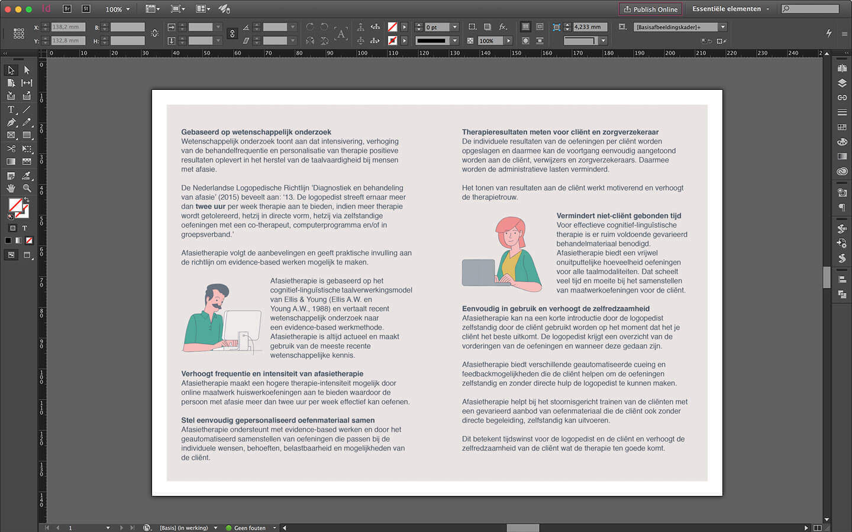 Ontwerp folder voor afasietherapie, binnenzijde voorzien van tekst