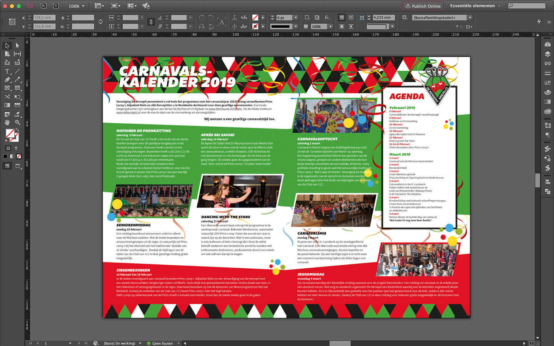 Brochure ontwerp van de binnenzijde van het carnavalsprogramma met uitgebreide kalender