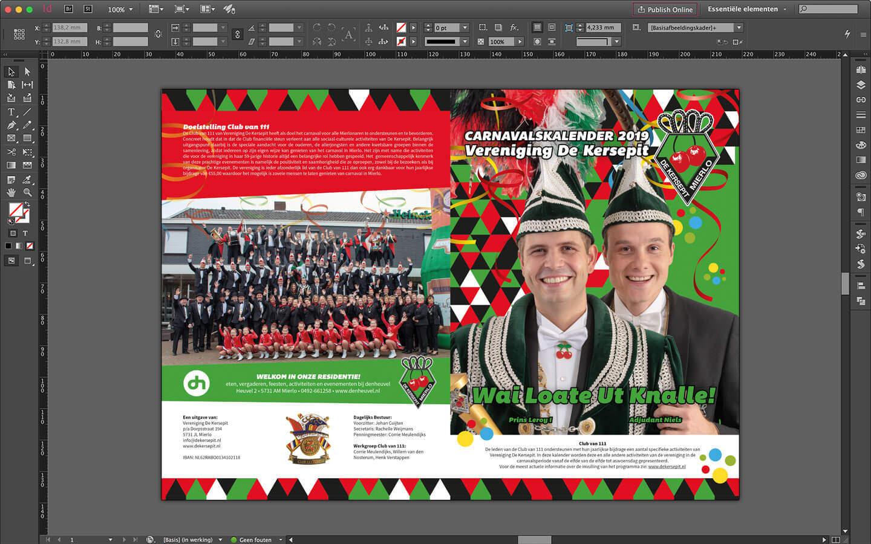 Brochure ontwerp van de voorzijde van het carnavalsprogramma