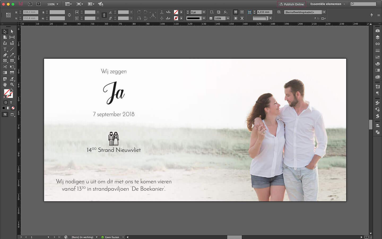 Ontwerp van huwelijksuitnodiging binnenzijde van de kaart voorzien van algemene tekst en foto