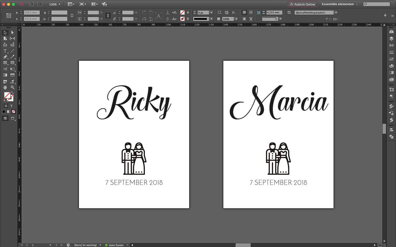 Huwelijksdrukwerk ontwerp van geplitst logo voor het graveren van champagneglazen