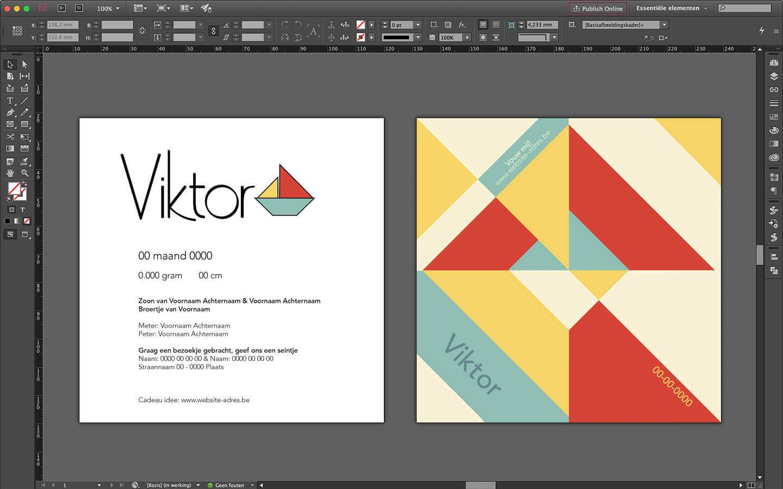 Ontwerp geboortekaartje voor Viktor met logo, tekst en grafische achterzijde om een bootje te vouwen