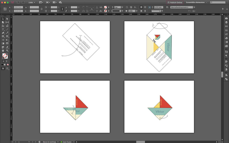Geboortedrukwerk ontwerp stappenplan vouwen van het geboortekaartje tot een bootje