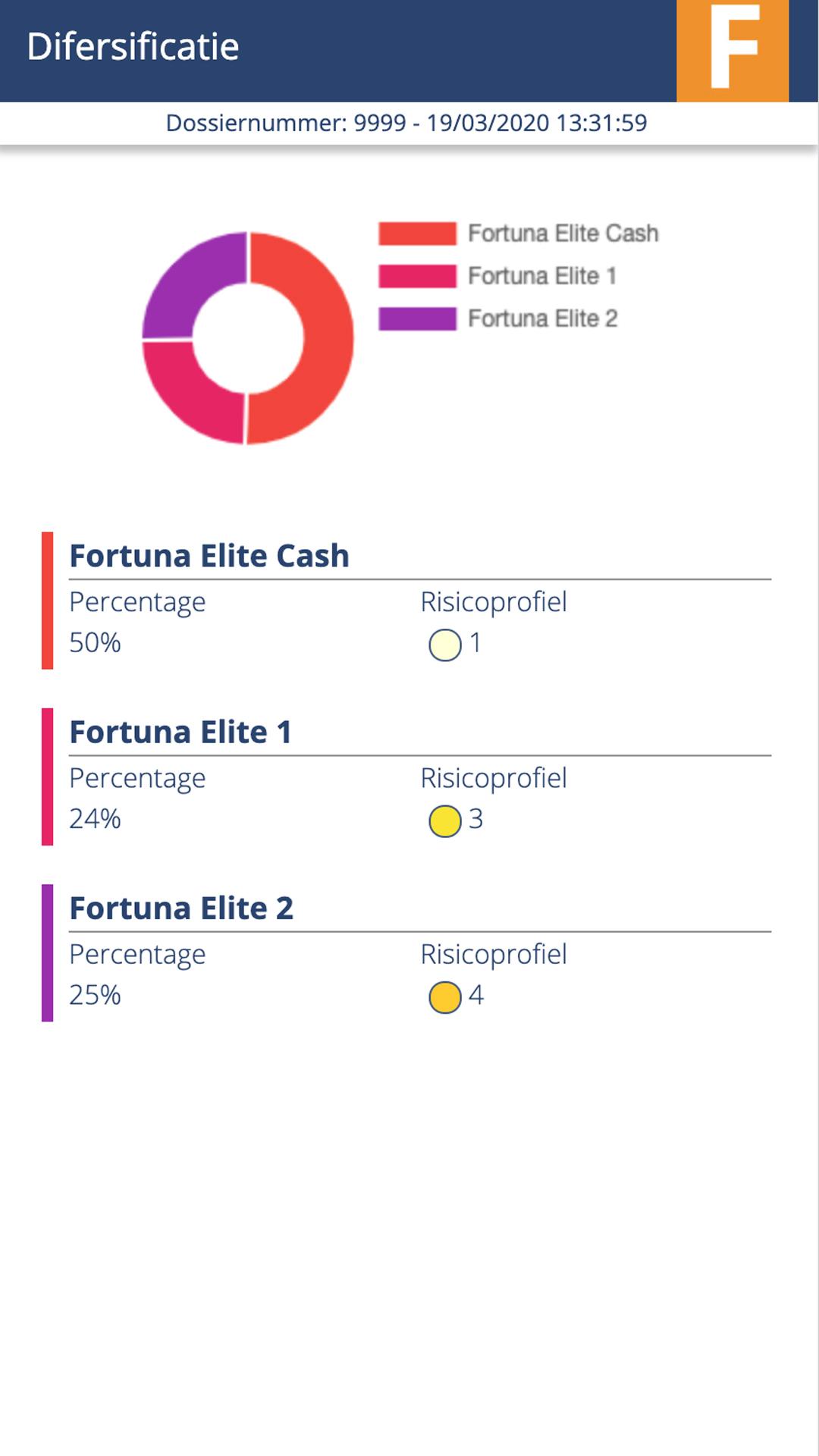 Fortuna Mobile app preview Difersificatie