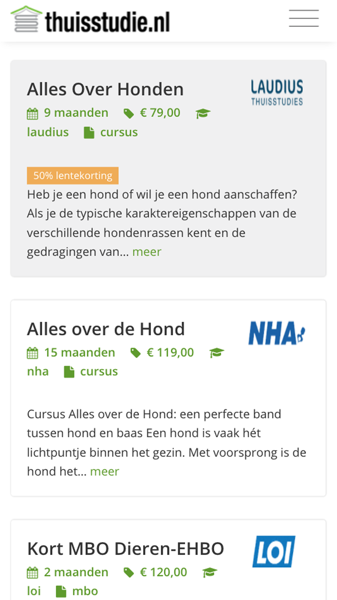 Thuisstudie mobile preview